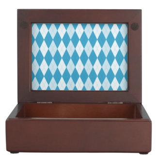 孔雀青のアーガイル柄ので小さいダイヤモンドの形 ジュエリーボックス
