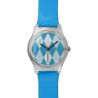 孔雀青のアーガイル柄ので小さいダイヤモンドの形 腕時計
