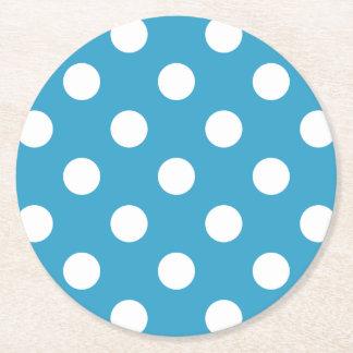 孔雀青の背景の白い水玉模様 ラウンドペーパーコースター