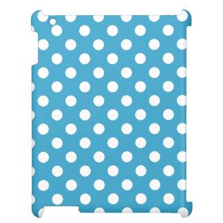 孔雀青の背景の白い水玉模様 iPad CASE