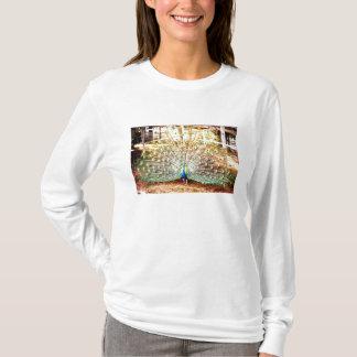 孔雀、女性長袖 Tシャツ