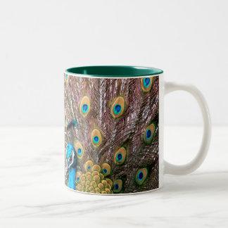 孔雀、鳥 ツートーンマグカップ