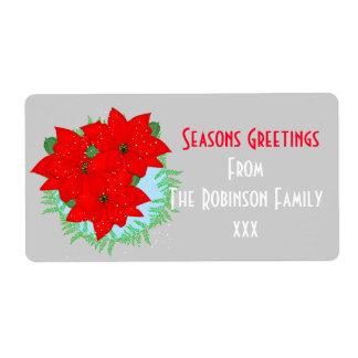 季節のごあいさつのクリスマスによっては編集可能が開花します ラベル