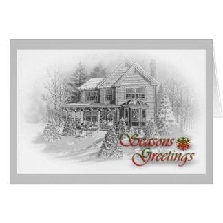 季節のごあいさつの家のスケッチ グリーティングカード
