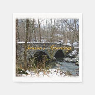 季節のごあいさつ挨拶状-石造りのアーチ橋-雪 スタンダードカクテルナプキン