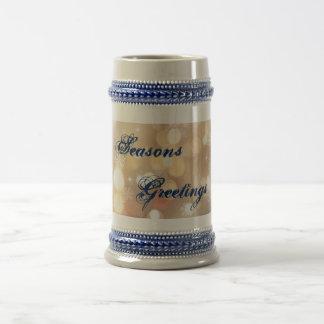 季節のごあいさつ雪片及びライト青のマグ ビールジョッキ