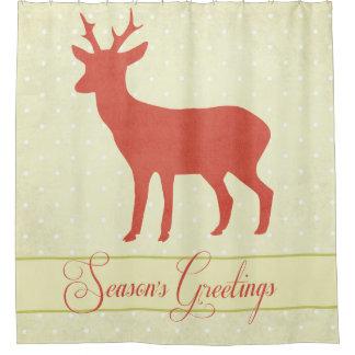 季節のシカのシャワー・カーテン-クリーム色の水玉模様 シャワーカーテン