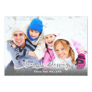 季節の恵み家族の休日カード降雪 カード