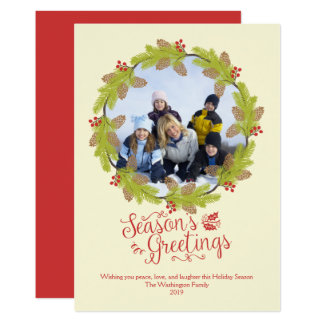 季節の挨拶のクリスマスの写真のヒイラギのリース カード