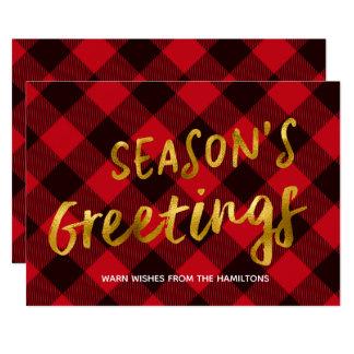 季節の挨拶のバッファローの赤い格子縞および金ゴールドホイル カード