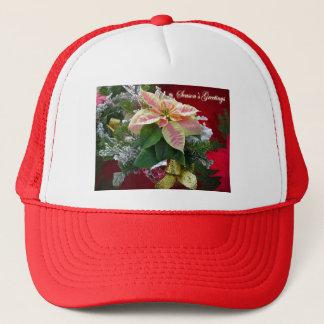 季節の挨拶のポインセチアの花柄の帽子 キャップ