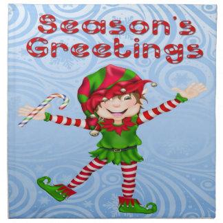 季節の挨拶の小妖精や小人の布のナプキン(4)の置いて下さい ナプキンクロス