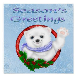 季節の挨拶の白くまポスター ポスター