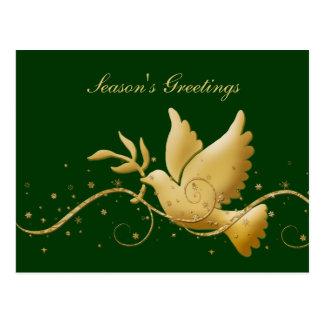 季節の挨拶の鳩の平和金ゴールドのクリスマスは挨拶します ポストカード