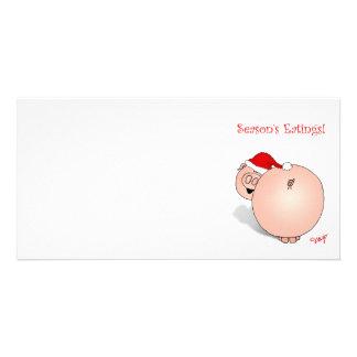 季節の挨拶(食べ物)のブタの漫画 カード