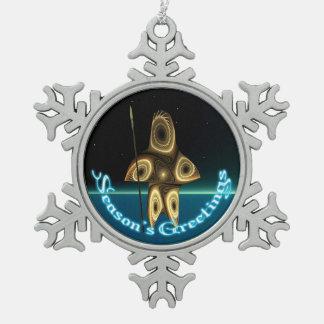 季節の挨拶- Tuvaaq スノーフレークピューターオーナメント