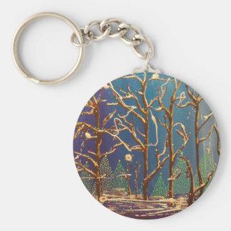季節の木の絵を描くこと キーホルダー