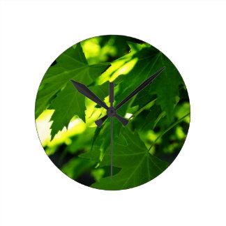 季節の葉 ラウンド壁時計