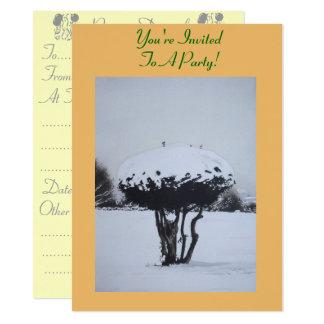 季節的な景色の雪場面オリジナルの芸術 14 X 19.1 インビテーションカード