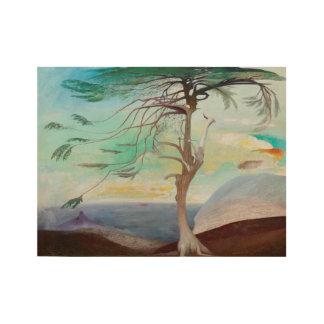 孤独なヒマラヤスギ木の風景画 ウッドポスター