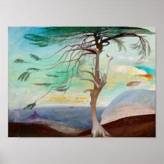 孤独なヒマラヤスギ木の風景画 ポスター