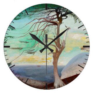 孤独なヒマラヤスギ木の風景画 ラージ壁時計