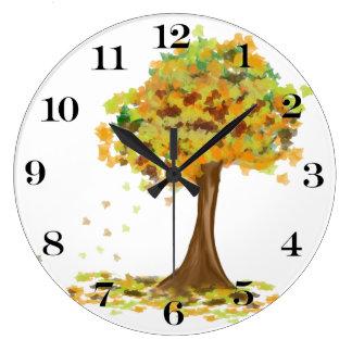 孤独な秋の木 ラージ壁時計