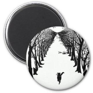 孤独な道のアートワークの黒猫 マグネット