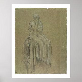 孤独、c.1890 (紙のチョーク)のための勉強 ポスター