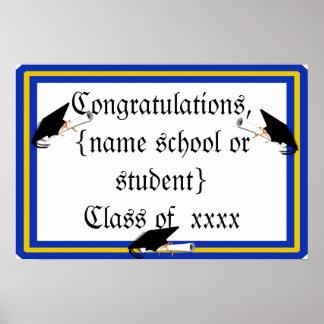 学校との卒業生の帽子の傾きは青および金ゴールドを着色します ポスター