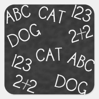 学校のコレクションABC犬猫123のおもしろいのステッカー スクエアシール