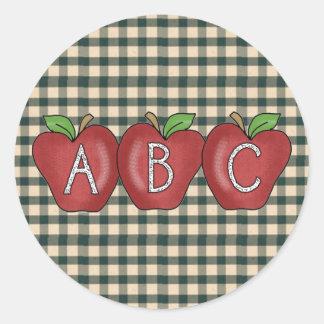 学校のコレクションABC Appleのステッカー ラウンドシール
