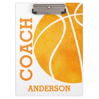 学校のバスケットボールのコーチの名前入りなレトロのトレンディー クリップボード