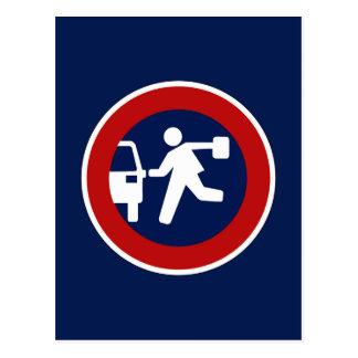 学校のピックアップ・ポイント、交通標識、アルゼンチン ポストカード