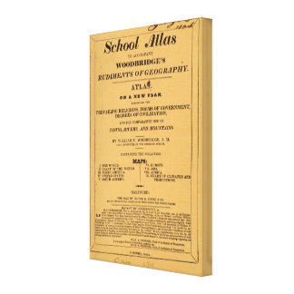 学校の地図書、地理学のWoodbridgeの基礎 キャンバスプリント