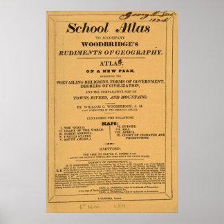 学校の地図書、地理学のWoodbridgeの基礎 ポスター