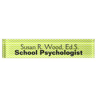 学校の心理学者のモダンなシェブロンのネームプレート デスクネームプレート