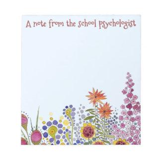 学校の心理学者の花のメモ帳 ノートパッド