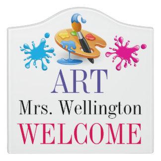 学校の美術教師の教室のドアの印 ドアサイン