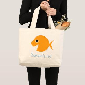 学校はかわいい漫画の金魚の先生の発言にあります ラージトートバッグ
