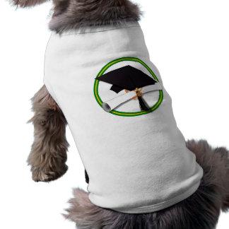 学校は緑及び金ゴールドの卒業生の帽子w/Diplomaを着色します ペット服
