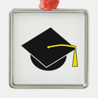 学校または大学または大学卒業の帽子 シルバーカラー正方形オーナメント