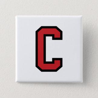 学校代表のスポーツ|の手紙C |の赤い黒 5.1CM 正方形バッジ