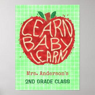 学校教師の教室Apple |はベビー|の名前を学びます ポスター