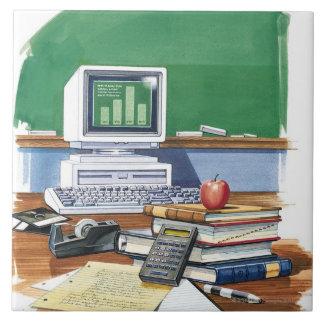 学校教師の机色の項目 タイル