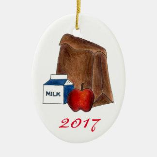 学校給食のミルクのAppleのお気に入りのな先生のギフト セラミックオーナメント