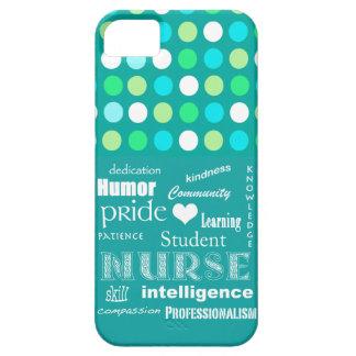 学生ナースのプライド属性か青緑の水玉模様 iPhone SE/5/5s ケース