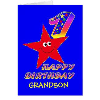 孫のための赤くにこやかな星の第1誕生日カード カード