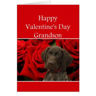 孫の光沢のあるハイイログマのバレンタインの初恋 カード