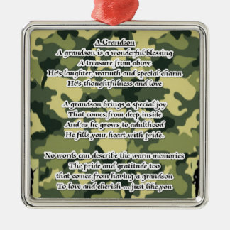 孫の詩の軍隊のカムフラージュ シルバーカラー正方形オーナメント